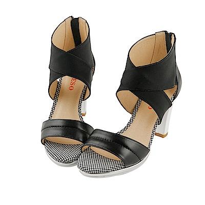 BESO 時髦女王 異材質拼接撞色涼鞋~黑