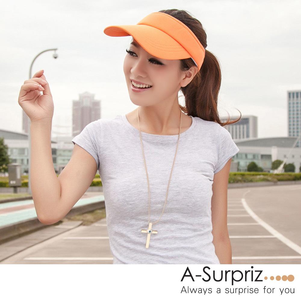 A-Surpriz 純色運動風空頂遮陽帽(橘)