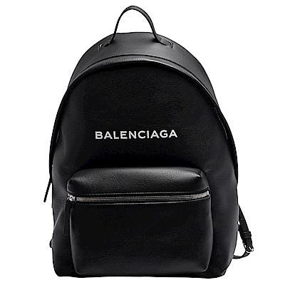 BALENCIAGA 經典Everyday系列品牌字母LOGO小牛皮拉鍊手提/後背包(黑)
