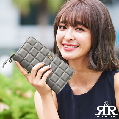 2R-甜心巧克力Sweet立體格紋羊皮長夾-時尚灰