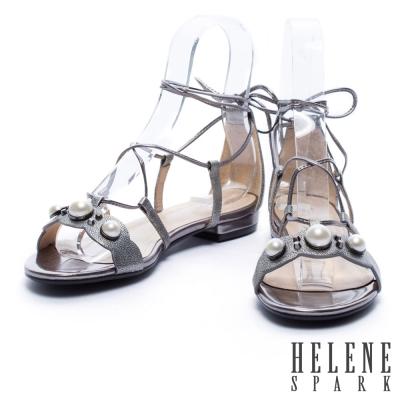 涼鞋 HELENE SPARK 復古珍珠羅馬式繞帶羊皮平底涼鞋-銀