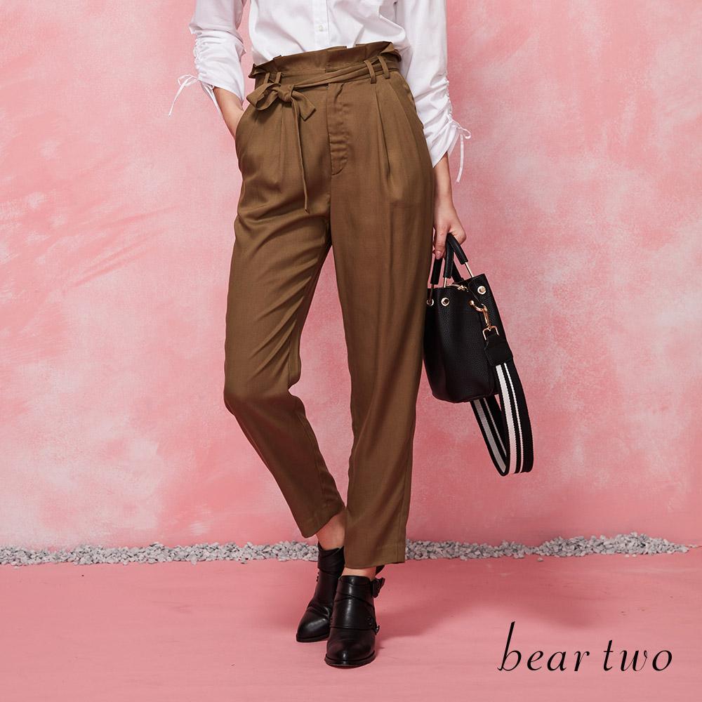 beartwo 高腰綁帶造型打褶老爺褲(二色)