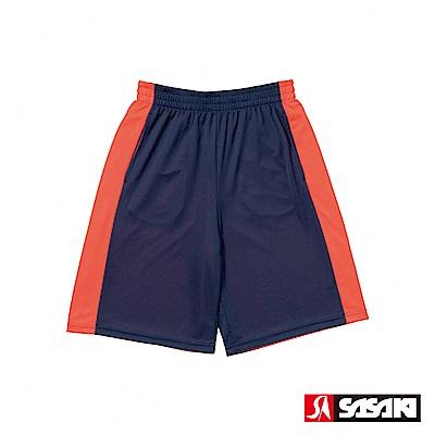 SASAKI 雙面穿長效性吸排籃球短褲-男-淺丈青/桔紅