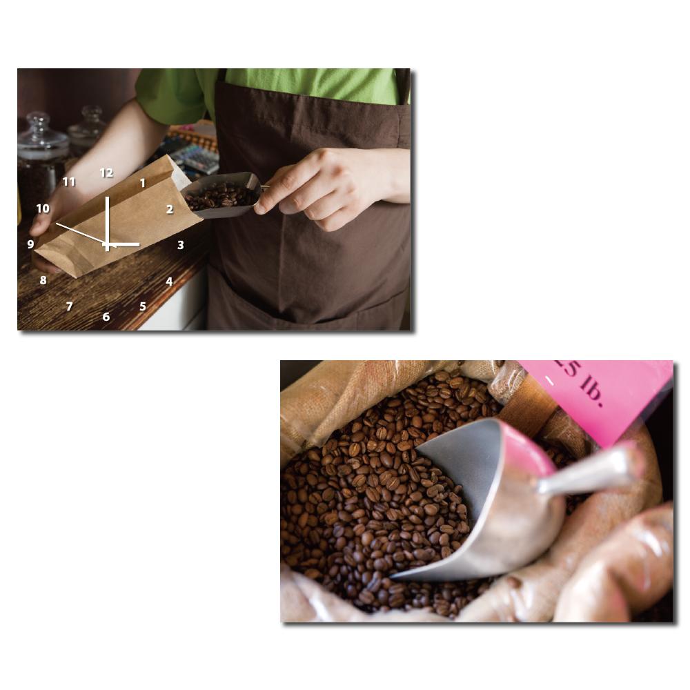 24mama掛畫-二聯橫幅餐廳民宿星巴克咖啡掛飾時鐘無框畫掛畫-咖啡-60x40cm