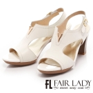 Fair Lady 復古V口挖空粗跟涼鞋 白