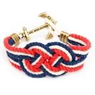 Kiel James Patrick 美國手工船錨棉麻繩結手環 藍紅白卡里克結編織