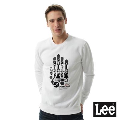 LEE 刷毛大學T機械手掌-白-男款