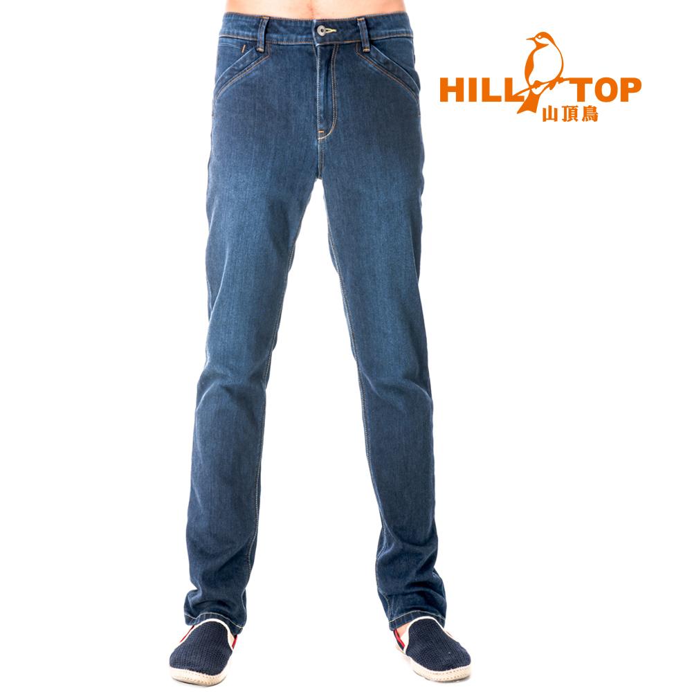 【hilltop山頂鳥】男款吸濕排汗抗UV牛仔褲S07MB2-深藍