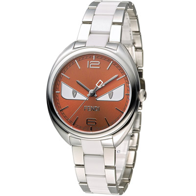 FENDI 芬迪 小怪獸系列時尚腕錶-橘/ 34 mm