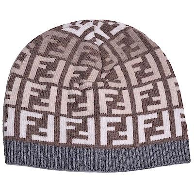 FENDI 經典FF LOGO圖騰義大利製混喀什米爾羊毛造型毛帽(咖啡底/灰邊)