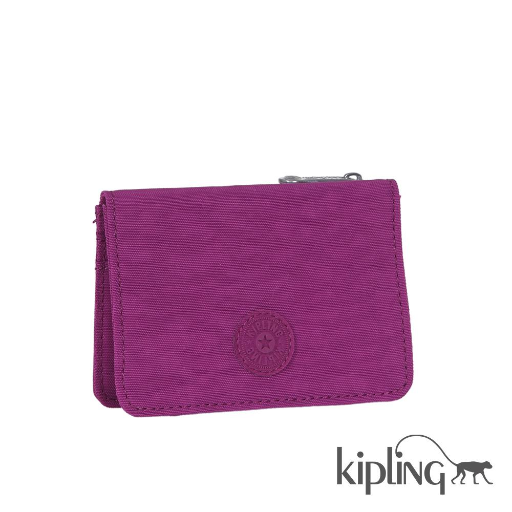 Kipling 短夾 葡萄紫素面-小