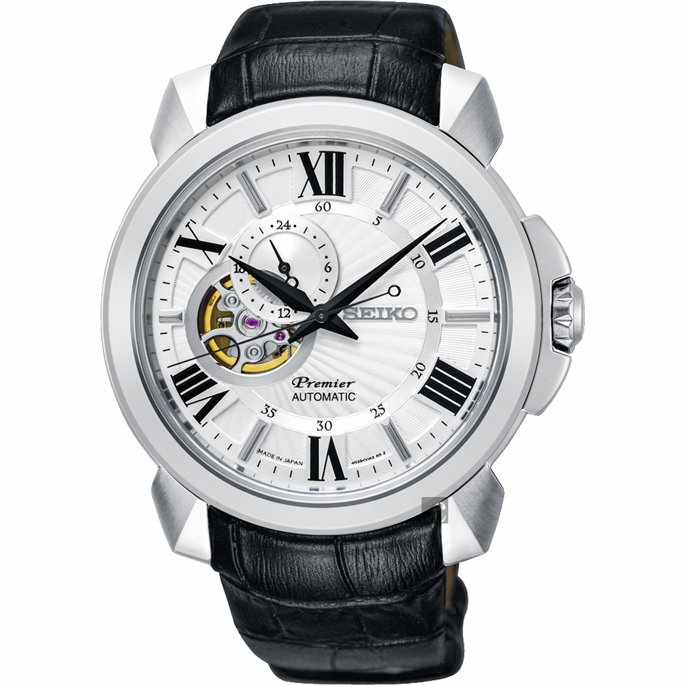 SEIKO精工 Premier 開芯小鏤空機械錶(SSA373J1)-銀x黑/42.9mm