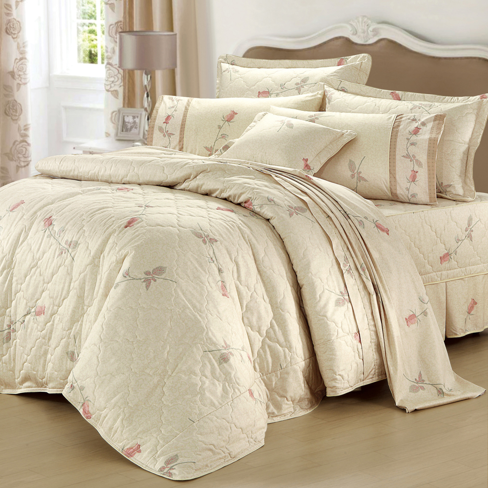 法國MONTAGUT - 巴洛克玫瑰花園 - 雙人加大六件式鋪棉床罩組