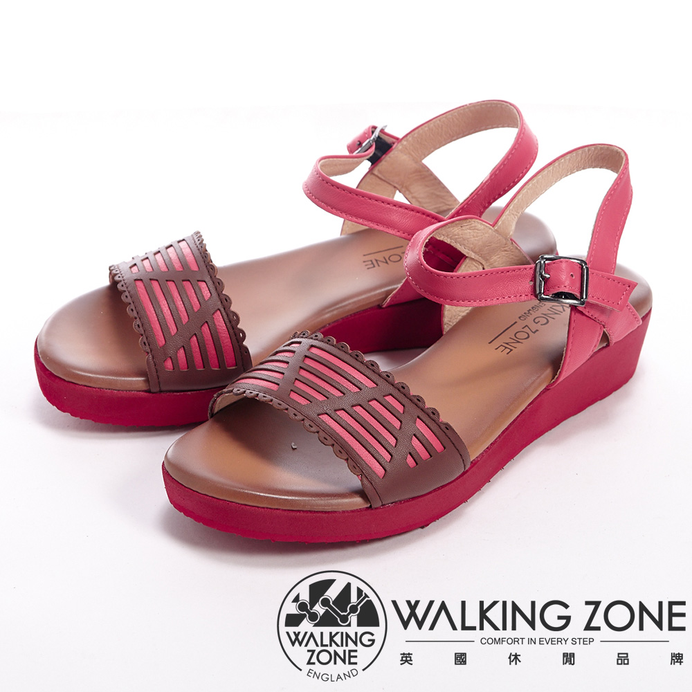 WALKING ZONE 交錯設計扣環厚底涼鞋女鞋-紅