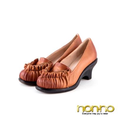 nonno  法式優雅 波浪造型蠟染低跟鞋-棕
