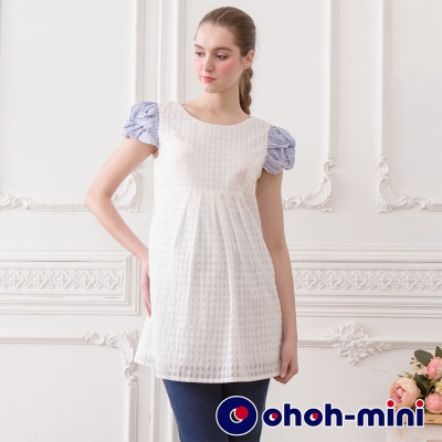 ohoh-mini 孕婦裝 撞色扭轉泡袖圓領雪紡上衣-2色