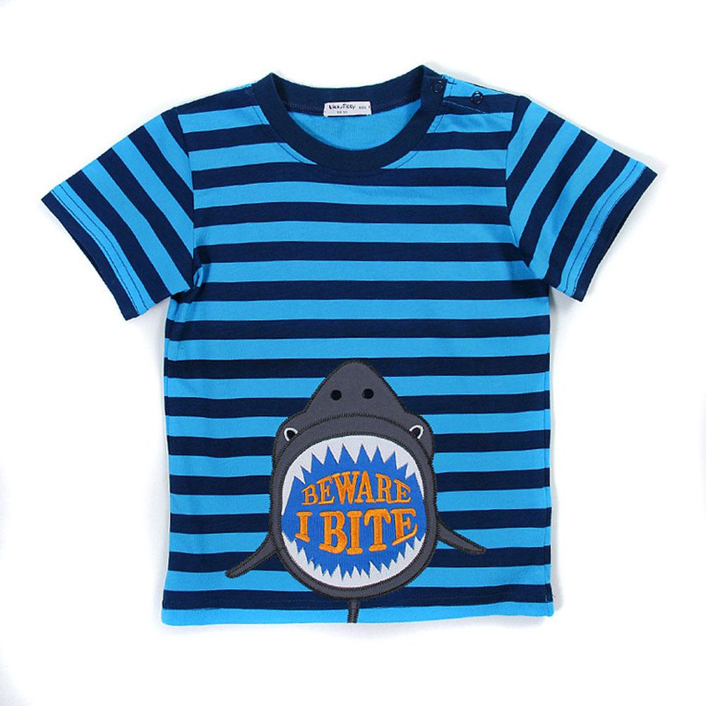 歐美風格設計 小童中童男童短棉T居家外出 鯊魚報到 藍色