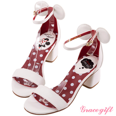 Disney collection by grace gift-立體造型一字涼鞋 白