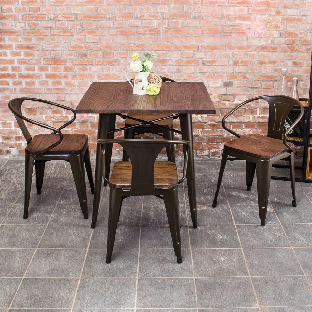 Boden-布魯克2.7尺工業風實木鐵腳餐桌椅組(一桌四椅)-80x80x78cm