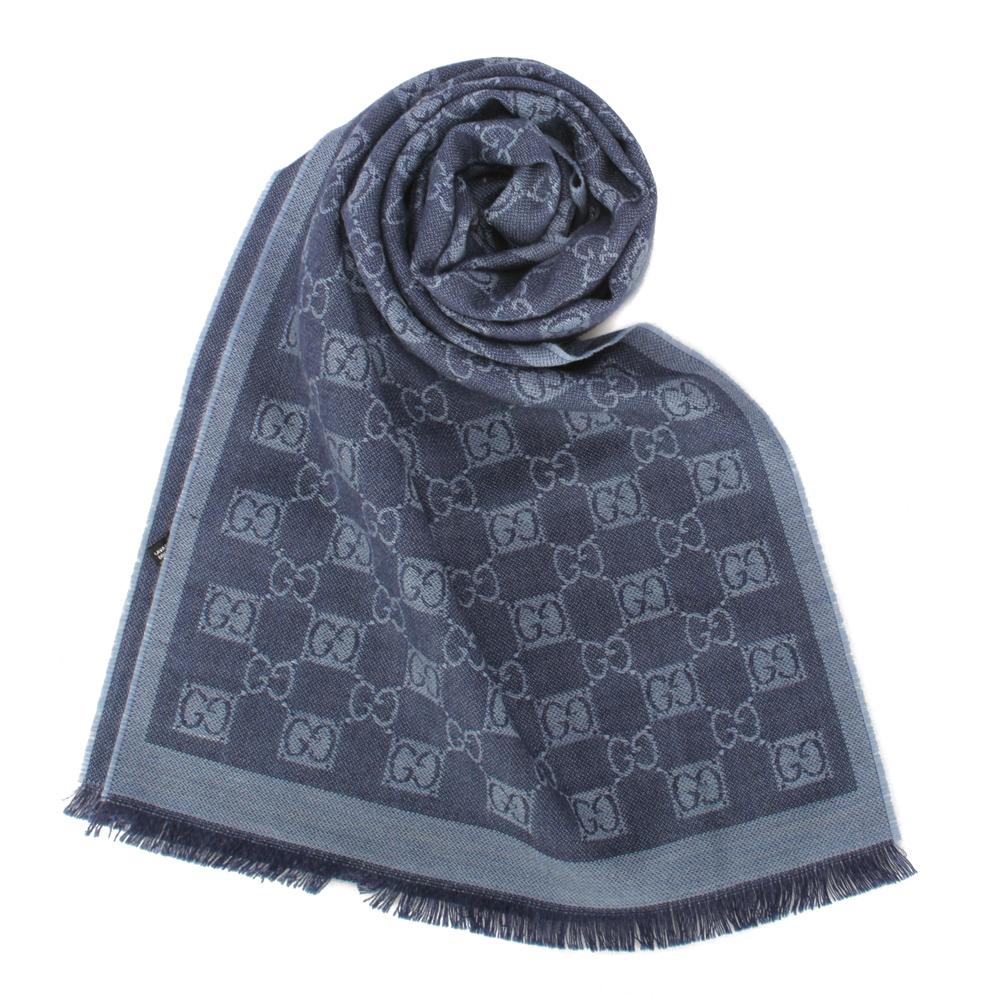 GUCCI 經典雙G-LOGO羊毛圍巾-藍色