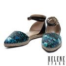 HELENE SPARK 渲染羊皮繫帶尖頭平底草編鞋-藍