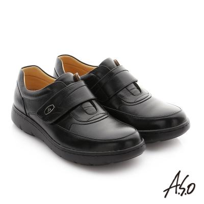 A.S.O 職場通勤 壓紋牛皮魔鬼氈氣墊紳士皮鞋 黑色