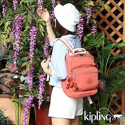 Kipling 後背包 粉橘素面-中
