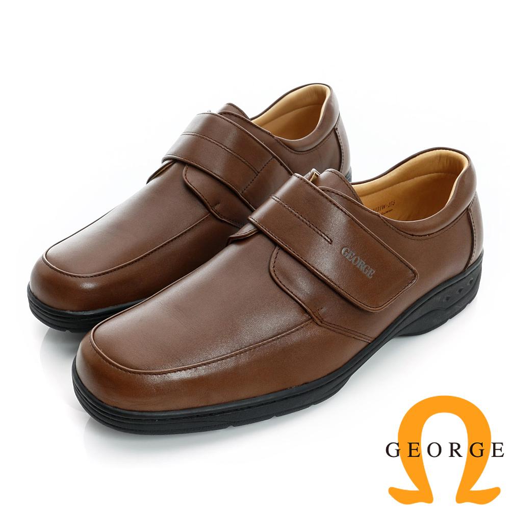 GEORGE-厚底素面魔鬼沾真皮方頭鞋-棕色