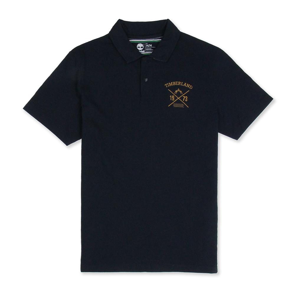 Timberland 男款深藍色刺繡字樣短袖Polo衫