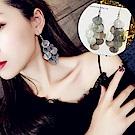 梨花HaNA  細緻秋葉金屬葉片垂飾耳環