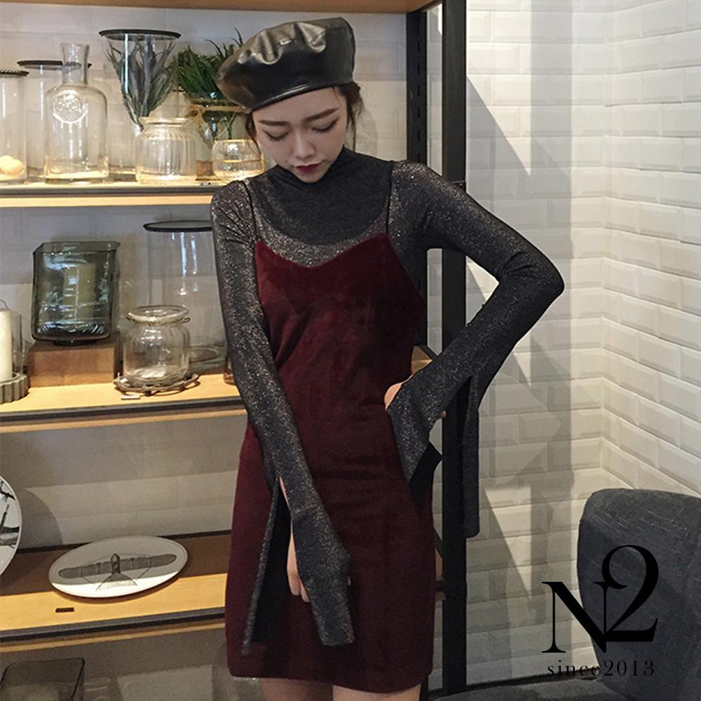 裙子 百搭氣質顯瘦吊帶連身裙(紅) N2