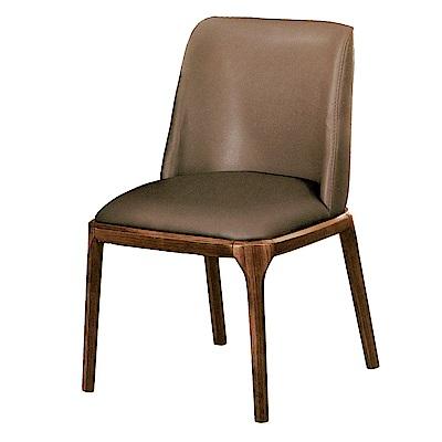 AS-貝琪淺胡桃咖啡色皮面餐椅-54x52x87cm