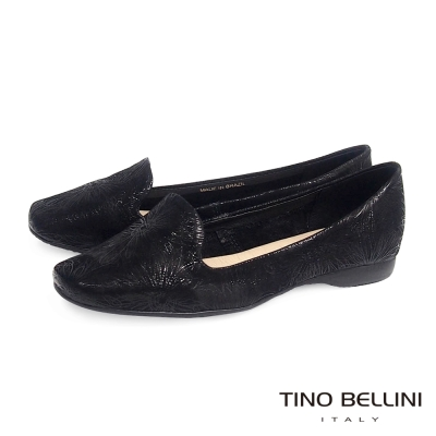 Tino Bellini 巴西進口特殊花紋舒適彈性樂福鞋_黑