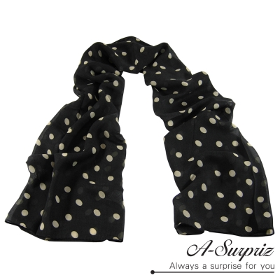A-Surpriz 甜美點點雪紡紗圍巾(黑色系)