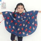 iSFun 兒童專用 短版斗篷式雨衣 M號藍櫻桃