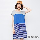 CHICA 海邊假期抽繩配色條紋洋裝(2色)