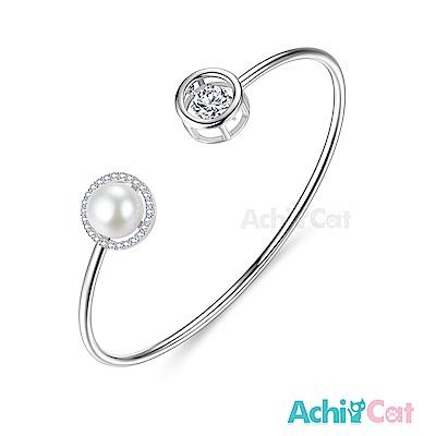 AchiCat 925純銀 跳舞的手環 優雅圓舞曲 天然珍珠 跳舞石