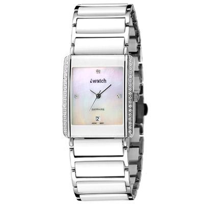 iwatch方形陶瓷晶鑽貝質腕錶-白24mm