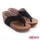 BESO 極簡風格 燙鑽厚底楔型夾腳拖鞋 黑