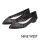 NINE-WEST-真皮鏤空尖頭平底鞋-經典黑