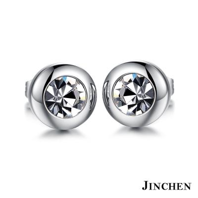 JINCHEN 白鋼復古水晶耳環 銀色