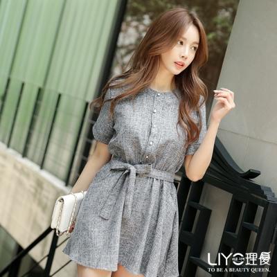 LIYO理優洋裝圓領收腰連衣裙-灰