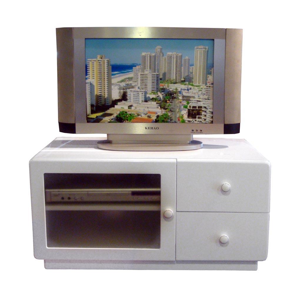 晶面圓角 晶面時尚-80W雙抽單玻璃門櫃/電視櫃-白色