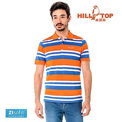 【hilltop山頂鳥】男款吸濕排汗抗UV彈性POLO衫S14MF4-帝國藍色