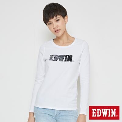 EDWIN 賽車旗格LOGO長袖T恤-女-白色