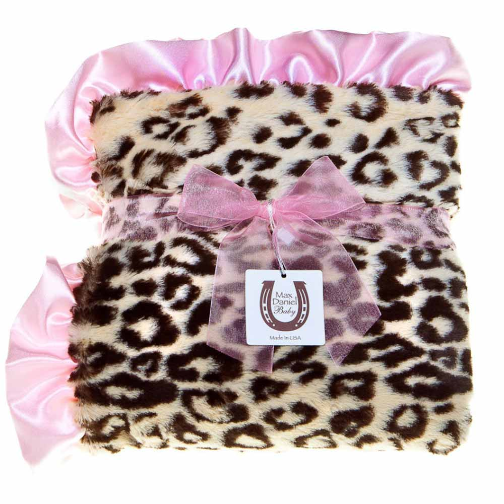 Max Daniel 動物紋系列 粉邊豹紋款 嬰兒毯攜帶毯