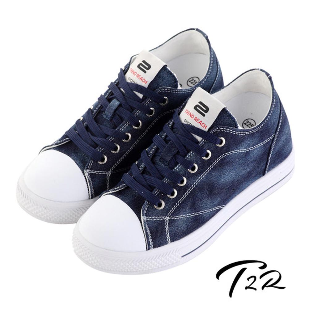 T2R 韓國經典牛仔隱形增高帆布鞋 增高7cm 深藍