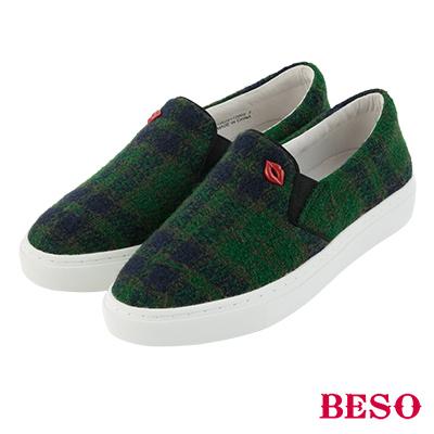 BESO英倫女孩 經典格子紅唇休閒鞋~綠