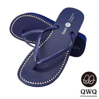 QWQ夾拖的創意(女) - 慛燦面鑽 3cm夾腳拖鞋 - 寶石藍
