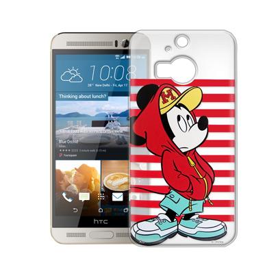 迪士尼 HTC One M9+ 街頭透明軟式手機殼(帽T米奇)